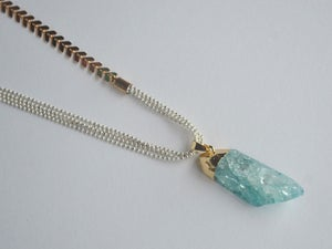 Image of Crackled crystal bullet pendant - with asymetrical chevron chain