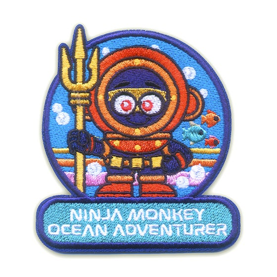 Image of Ninja Monkey Ocean Adventurer Iron-On Patch