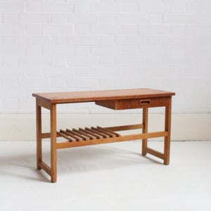 Image of Midcentury teak side table / low console, single drawer.