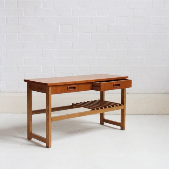Image of MIDCENTURY TEAK SIDE TABLE / LOW CONSOLE, TWO DRAWERS