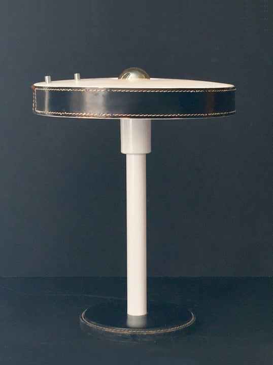 Image of Table Lamp with Black Leather Details
