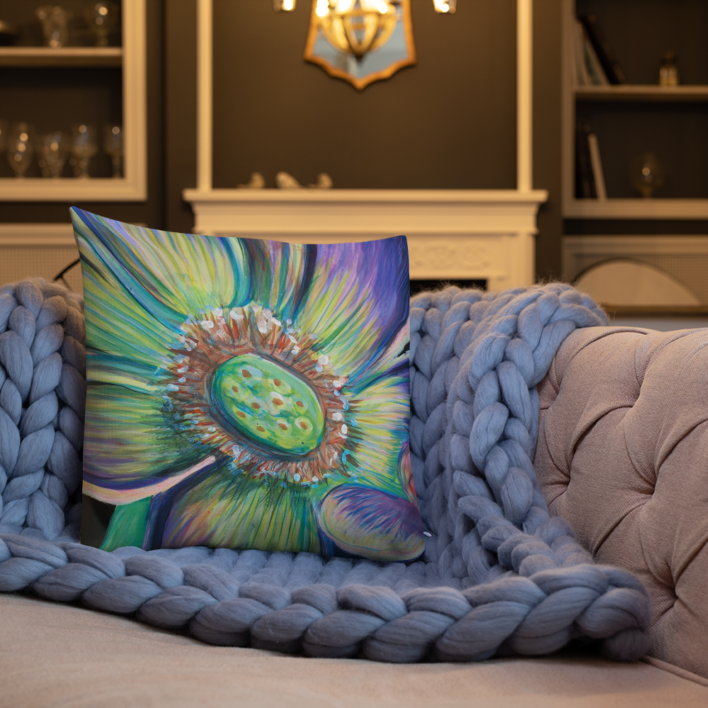 "Image of Pillow: Square Soft Green & Purple Flower 18"" x 18"" designed & image created by Antonio Rael."