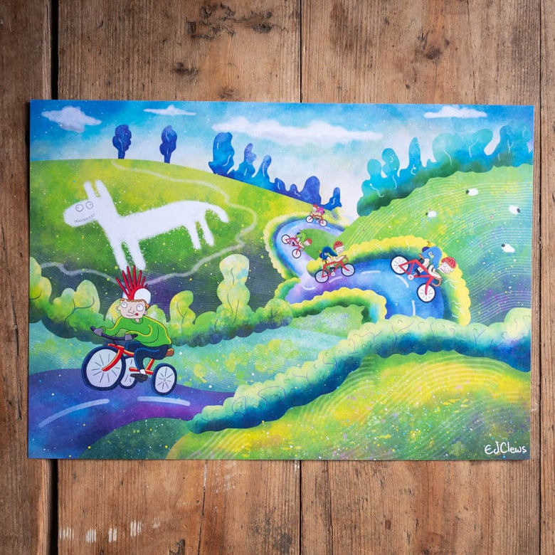 Image of Yorkshire White Horse Cycling A4 print