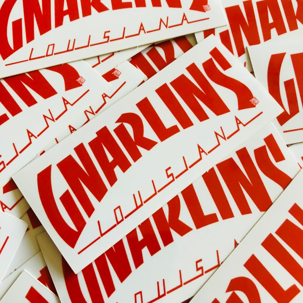 Image of GNARLINS, LOUISIANA (Red and White Vinyl) Sticker by TimboYaYa!