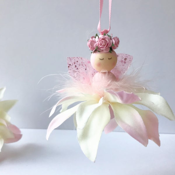 Image of Pink Enchanted Flower Fairy,  Fairy Decor, New Baby Gift, Christening Gift, Handmade Fairy