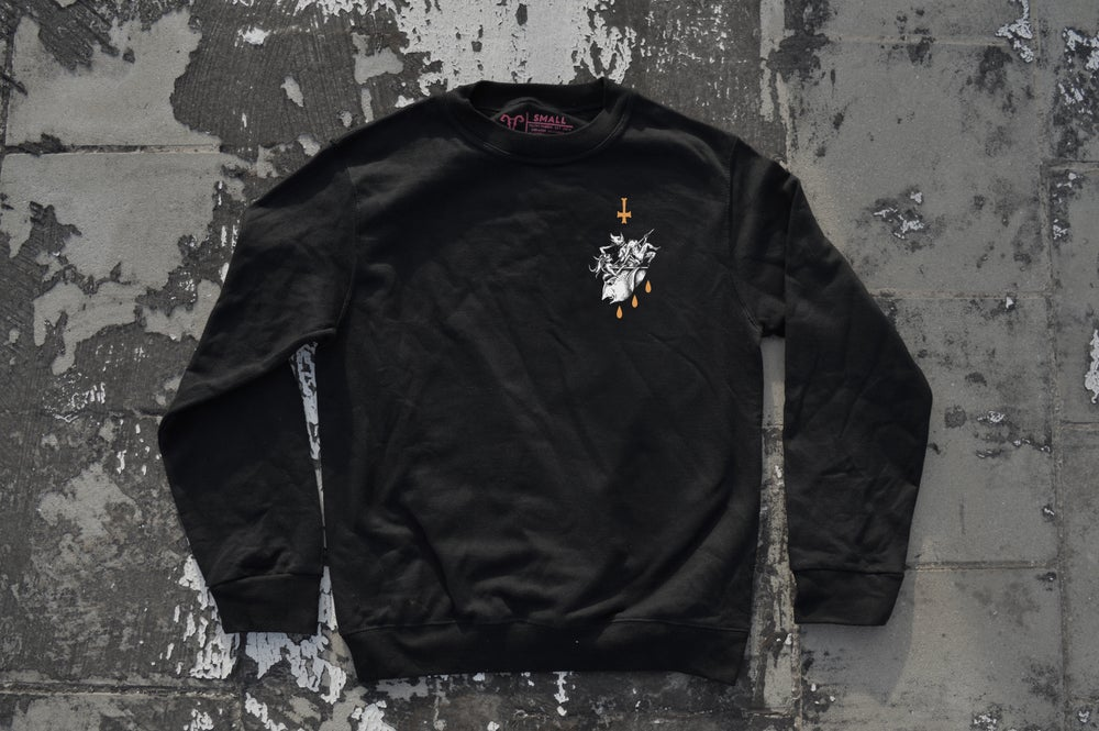 "Image of ""We All Suffer The Same"" Black Crewneck Sweatshirt"