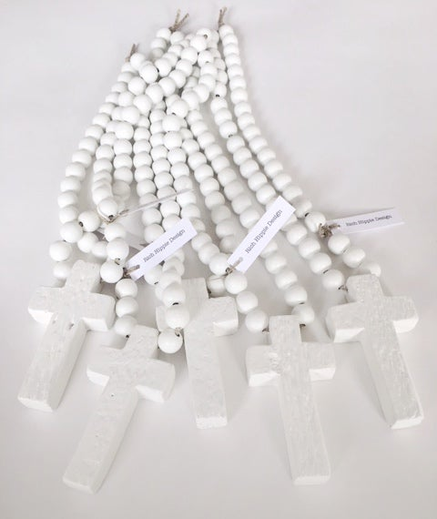 Image of EXTRA MINI LOVE BEADS - WHITE CROSS