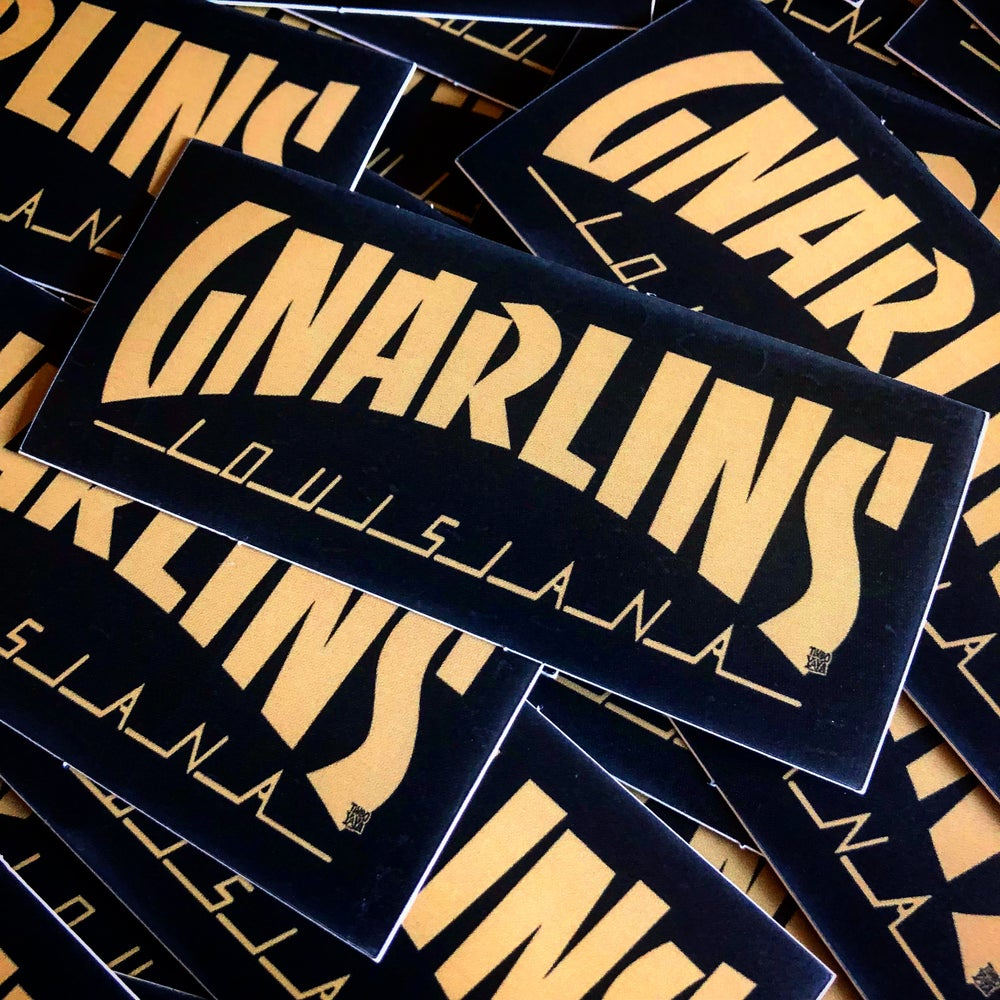 Image of GNARLINS, LOUISIANA (Black and Gold) Sticker by TimboYaYa!