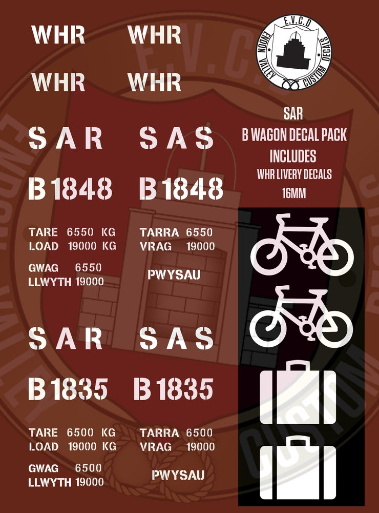 Image of SAR B Wagon Decals (Includes WHR Livery)