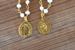 Petite Religious Medals on Pearls