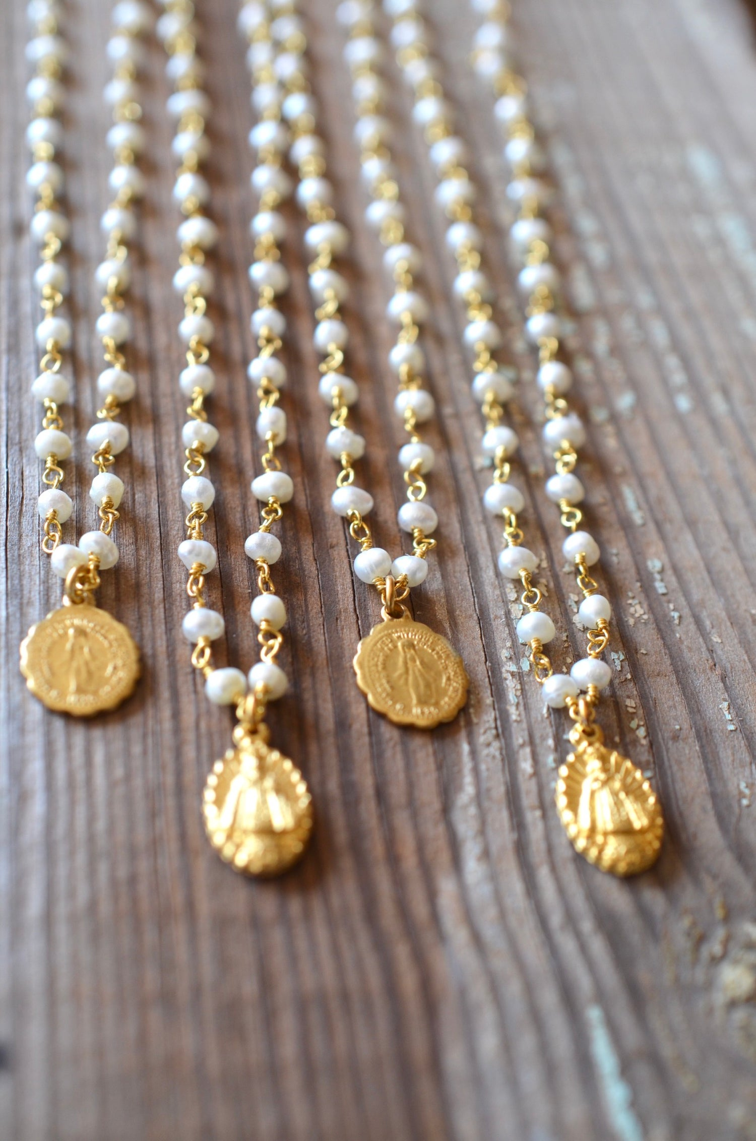 Image of Petite Religious Medals on Pearls