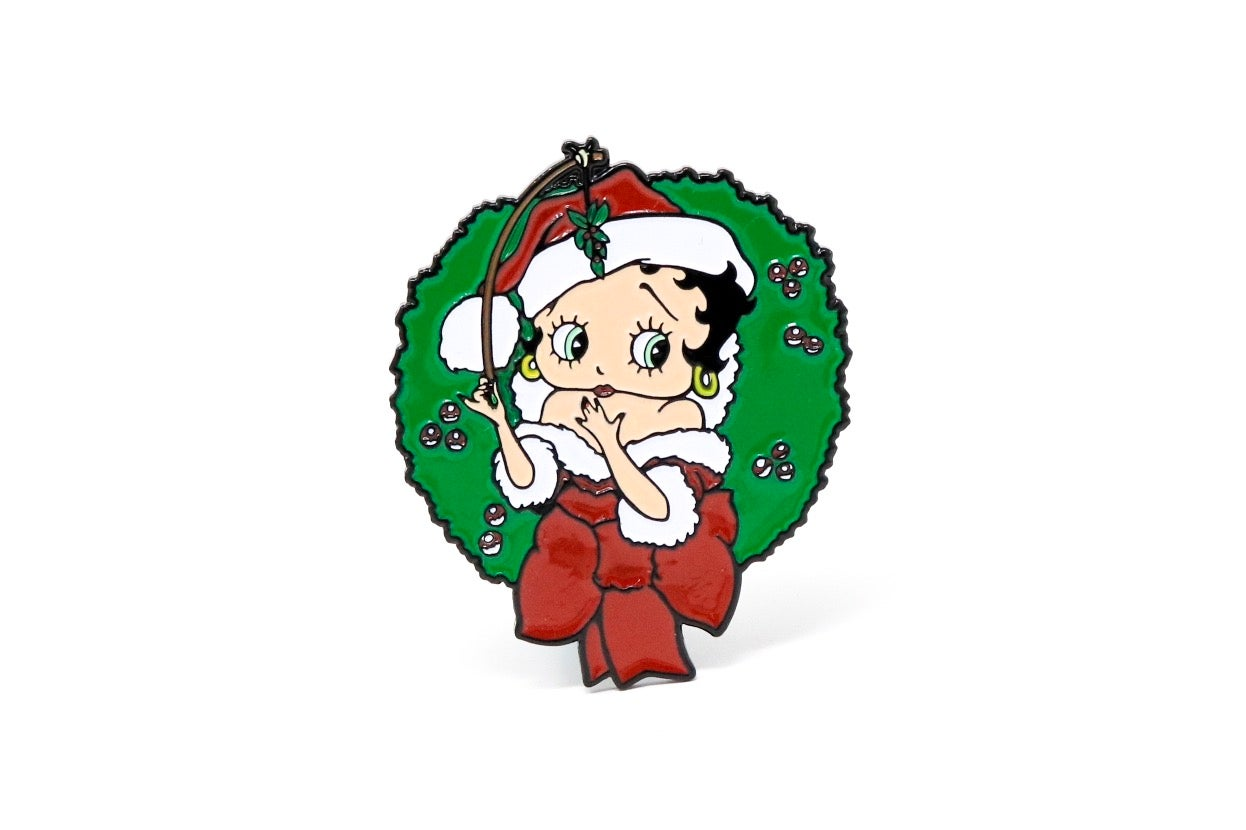 Image of Betty Boop Christmas Wreath Enamel Pin