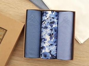 Image of Italian Men's Handkerchiefs Blue Florals