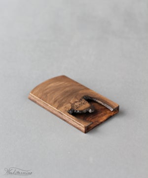 Image of Walnut business card holder - live edge  unique OOAK accessory for cards 90 x 50 mm