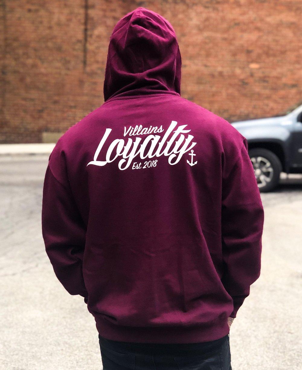 Villains Loyalty maroon hoodie