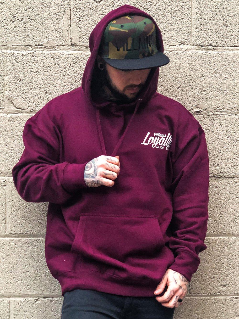 Image of Villains Loyalty maroon hoodie