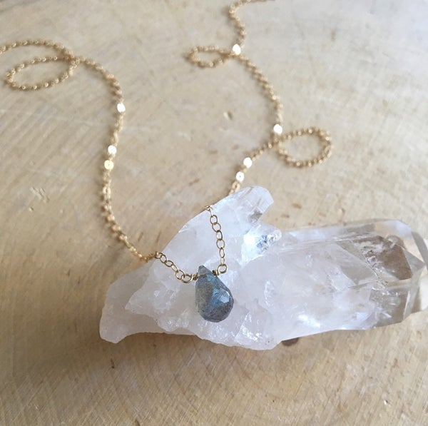 Image of Mini labradorite pendant necklace