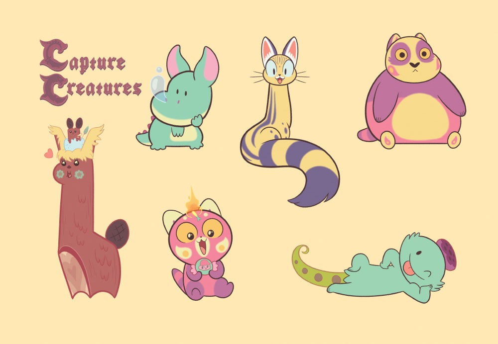 Image of Capture Creatures Sticker Sheet