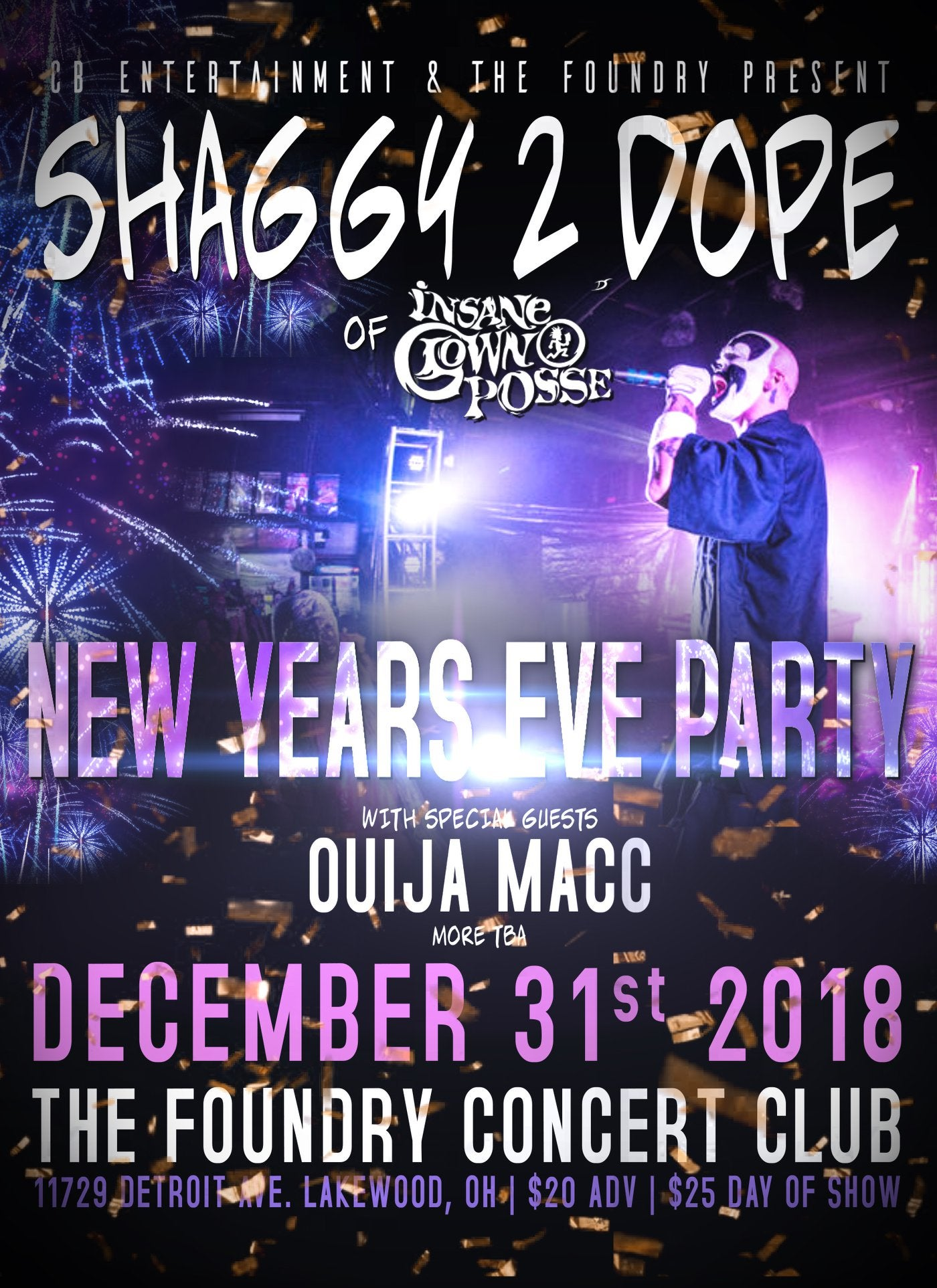 Image of Shaggy 2 Dope, Ouija Macc, A-LOW Rx & Zigwap New Years Eve Party @ The Foundry in Lakewood