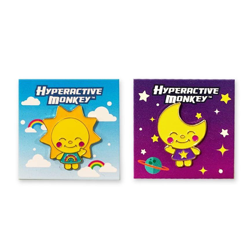 Image of Sun and Moon Hard Enamel Pins