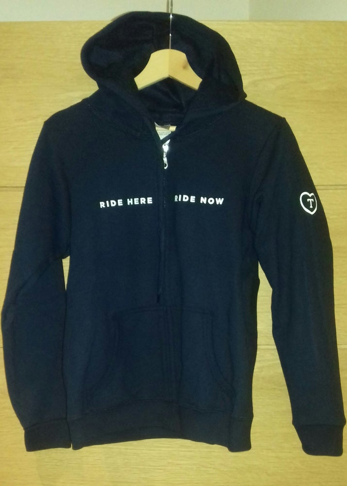 """Image of Navy """"RIDE HERE RIDE NOW"""" Zip Hoodie - Male, Female and Youth sizes available."""
