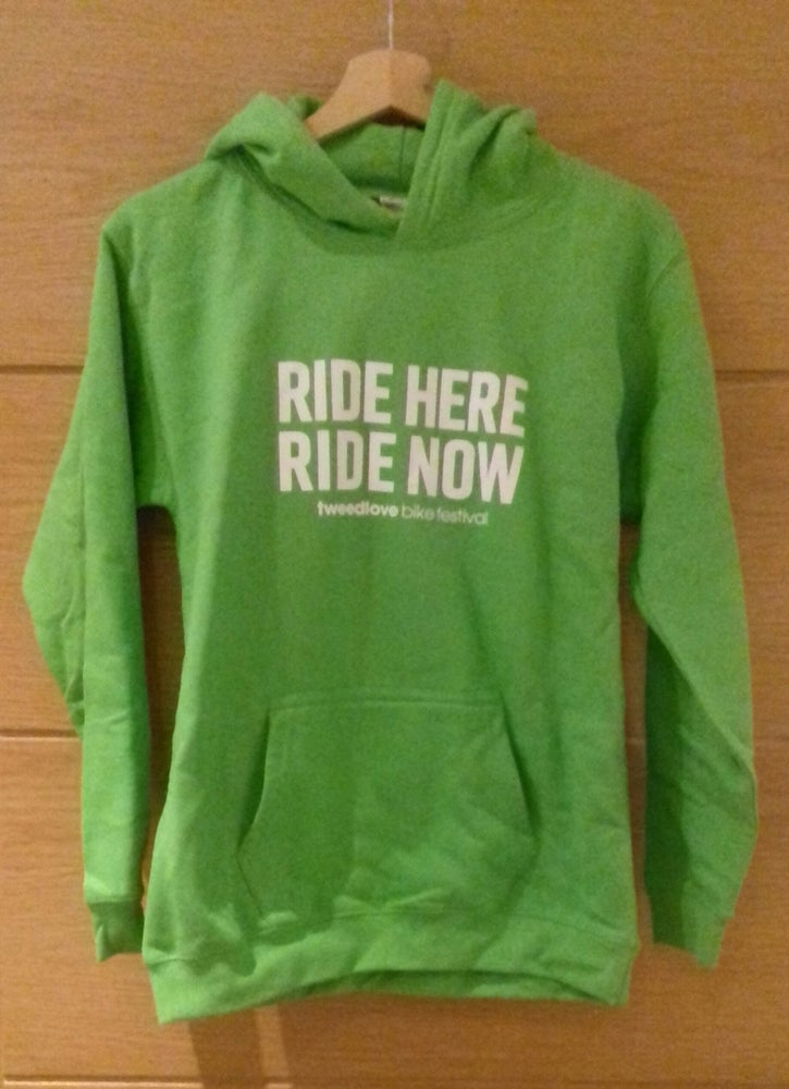 "Image of Lime Green ""RIDE HERE RIDE NOW"" Youth Hoodie"