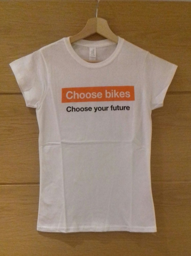 """Image of White """"Choose bikes, Choose your future"""" T-shirt, Male & Female sizes available"""