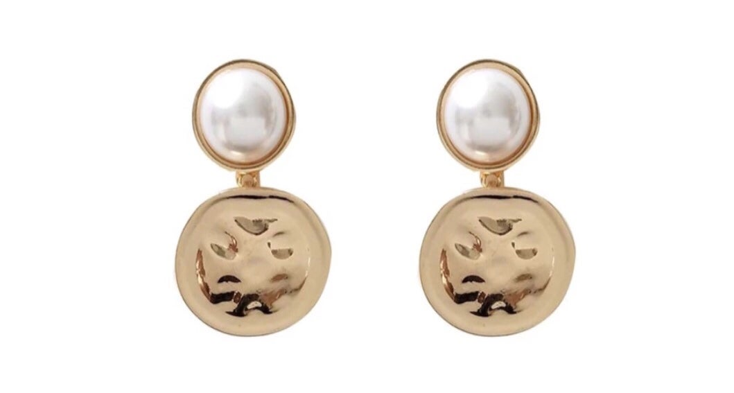 Image of Gold and Pearl Statement Earrings