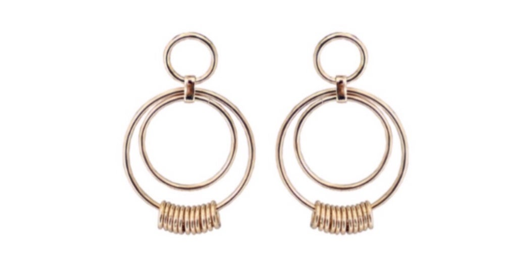 Image of Gold Hoop Statement Stud Earrings