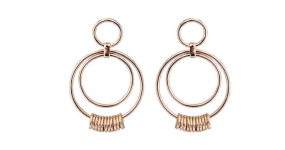 Image of Gold Hoop Statement Stud Earrings