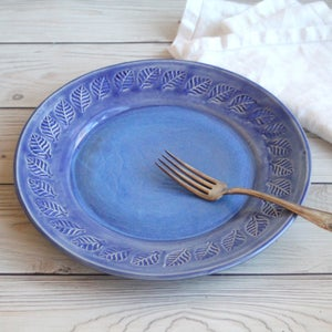 Image of Handcrafted Blue Dinner Plate with Leaf Pattern on Rim, Stoneware Pottery Made in USA