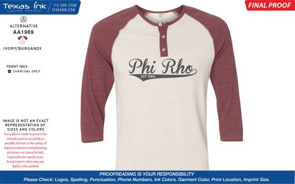 Image of Phi Rho Baseball Tee