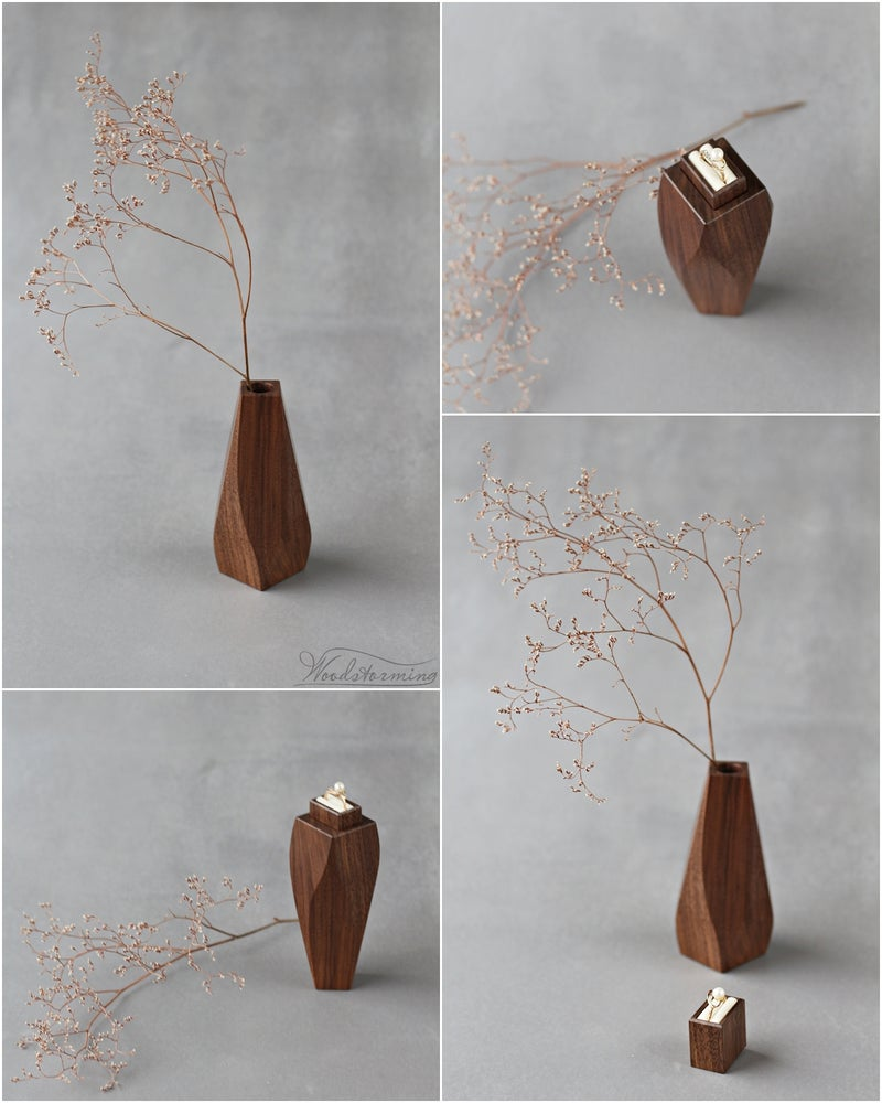 Image of Unique ring box - wavy vase with secret drawer for ring