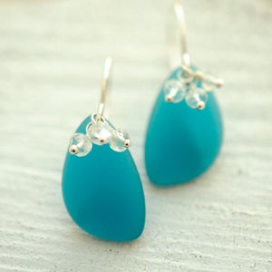 Image of Teal blue frosted glass earrings rainbow moonstone