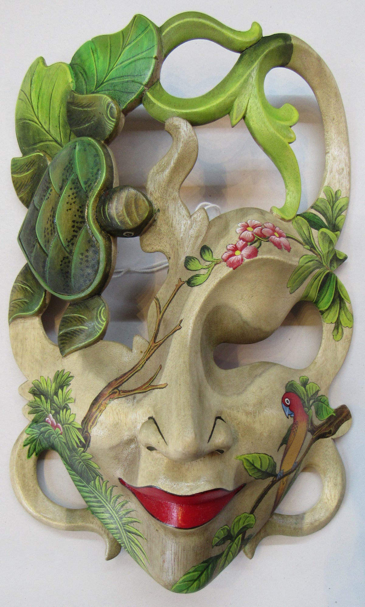 Image of Painted  Hibiscus Wood Mask