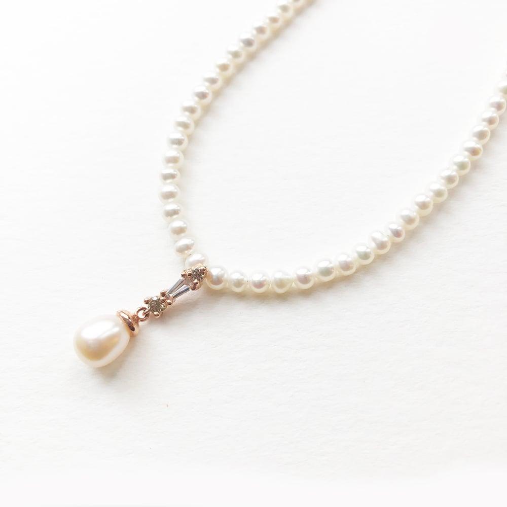 Image of Deco Pearl Drop Necklace