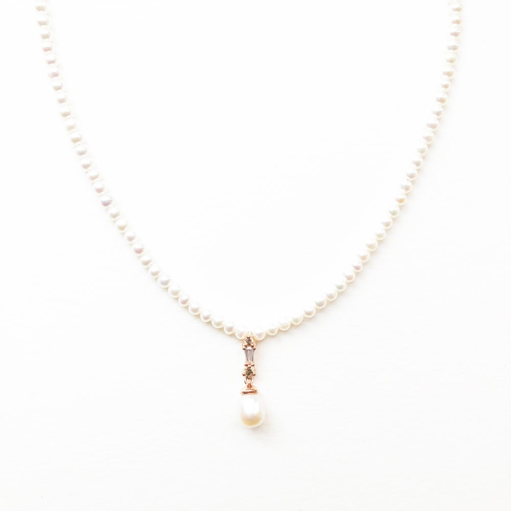 Image of Deco Pearl Drop Necklace