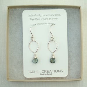 Image of Moss aquamarine earrings sterling silver lotus loop v2