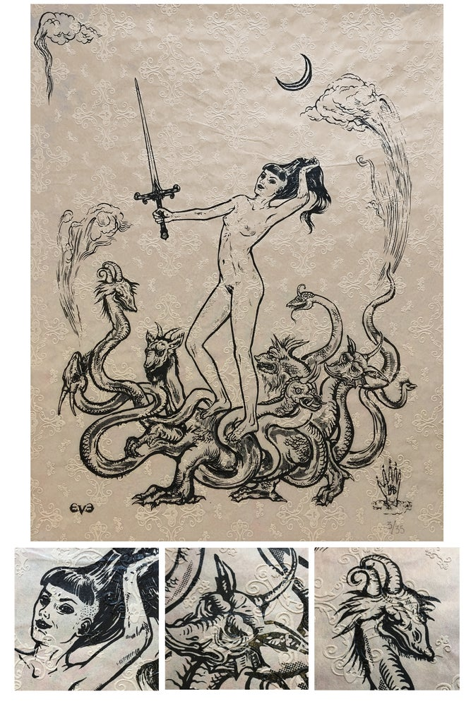 Image of Unique silkscreen print on embossed paper \\ Limited edition of 35 \\ The Whore of Babylon