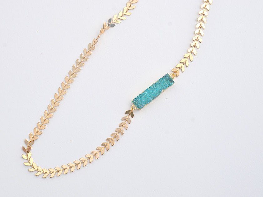 Image of druzy bar chevron chain