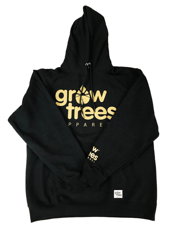 Image of Grow Trees Hoodie (Original) Black with Gold