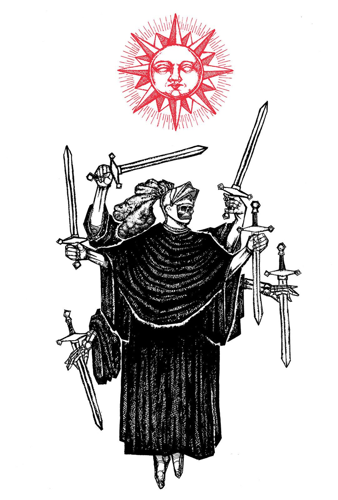 u0026quot six of swords u0026quot  8 5 u0026quot x11 u0026quot  watercolor print