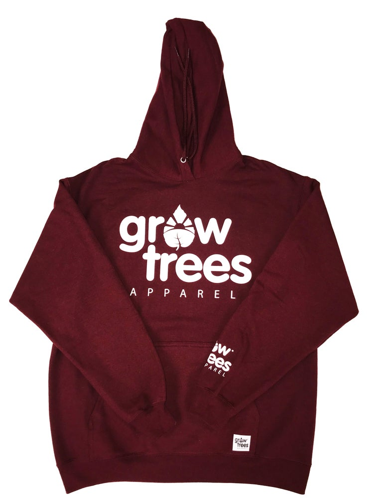 Image of Grow Trees Hoodie (Original) Maroon with White
