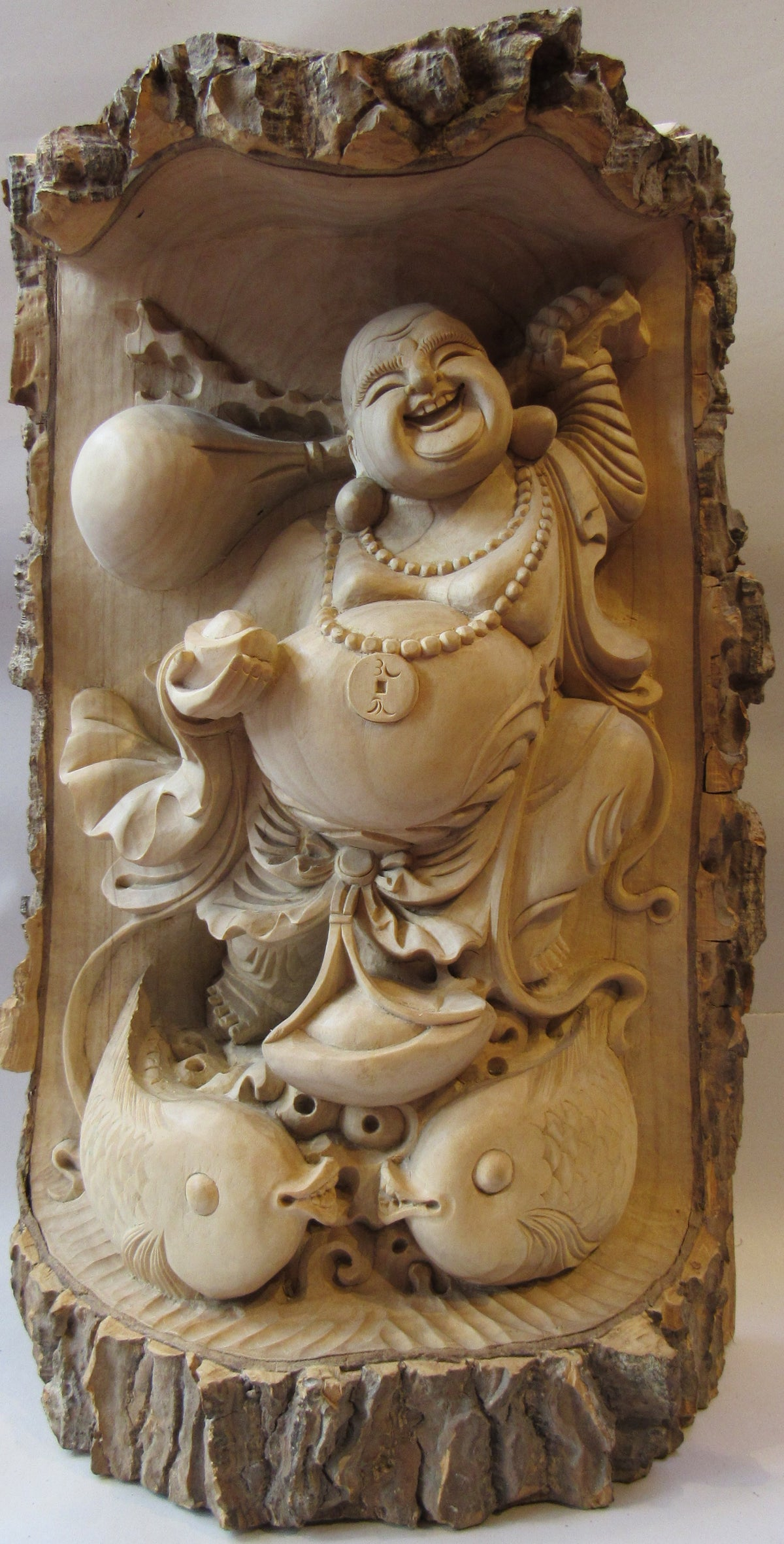 Image of Hand Carved Happy Buddha Statue
