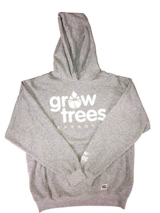 Image of Grow Trees Hoodie (Original) Heather Gray with White