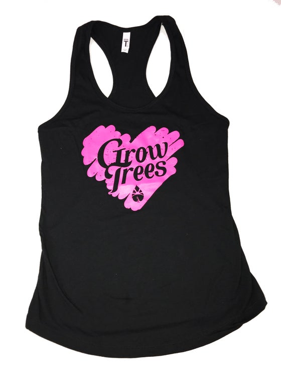 Image of Grow Trees Women's Tank Top (Black with Pink Heart)