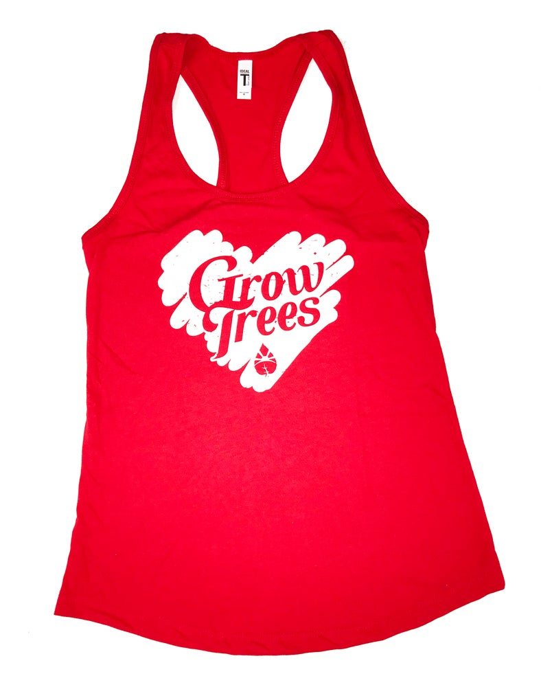 Image of Grow Trees Women's Tank Top (Red with White Heart)