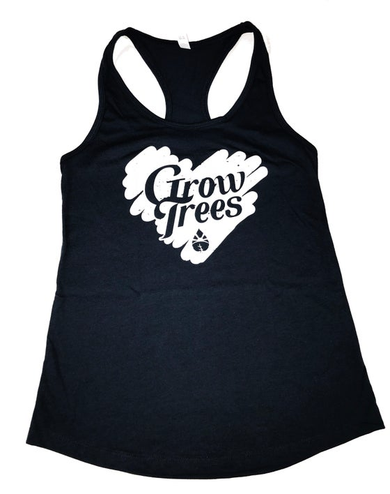 Image of Grow Trees Women's Tank Top (Black with White Heart)