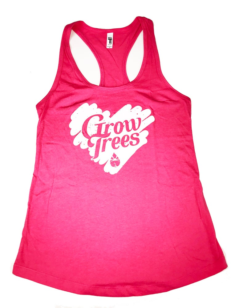 Image of Grow Trees Women's Tank Top (Hot Pink with White)
