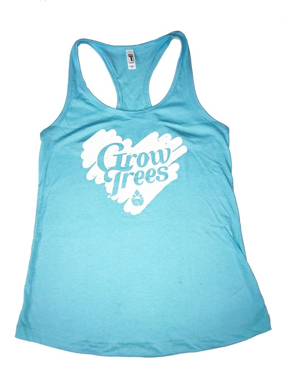 Image of Grow Trees Women's Tank Top (Tahiti Blue with White Heart)